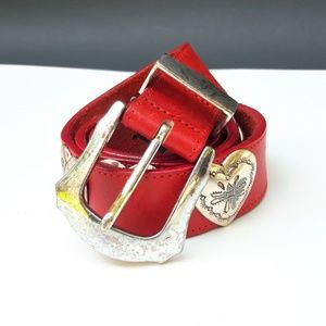 Brighton Leather Belt Heart Concho Western Red S